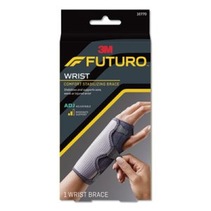 "Futuro Adjustable Wrist Brace, Wrists 5 1/2""- 8 1/2"", Black/Gray (MMM10770EN)"