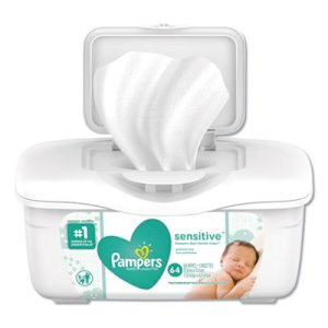 Pampers Sensitive Baby Wipes, Unscented, 64 Wipes per Tub (PGC19505EA)
