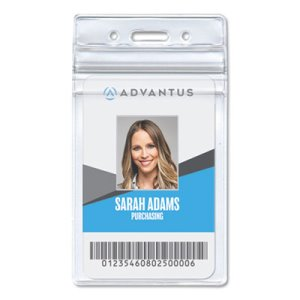 Advantus Resealable ID Badge Holder, Vertical, Clear, 50 per Pack (AVT75524)