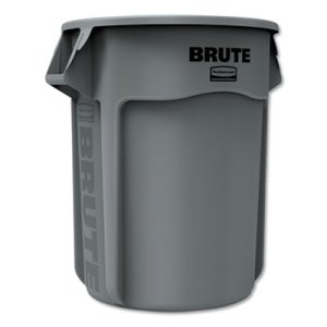 Rubbermaid Brute 55 Gallon Vented Round Trash Can, Gray, Each (RCP265500GY)