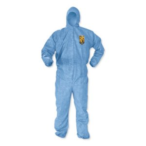Kleenguard A60 Elastic-Cuff, Ankles & Back Hooded Coveralls, 3X Large, Blue, 20/Carton (KCC45026)