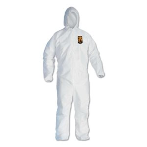 KleenGuard A40 Elastic-Cuff Hooded Coveralls, White, Large, 25 Pairs (KCC44323)