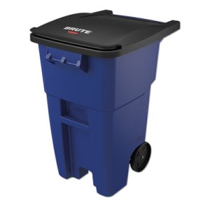 Rubbermaid 9W27 Brute 50 Gallon Rollout Trash Can w/Lid, Blue (RCP9W27BLU)