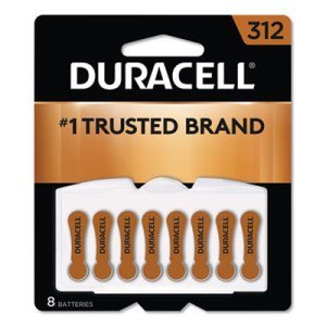 Duracell Button Cell Zinc Air Battery, #312, 8/Pk (DURDA312B8ZM09)