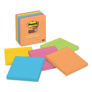 Sticky Jewel Pop Notes, 4 x 4, Lined, 5 Colors, 6 Pads/Pack (MMM6756SSUC)