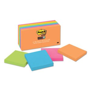 Post-it Super Sticky Notes, 3 x 3, Five Jewel Pop Colors, 12 Pads (MMM65412SSUC)