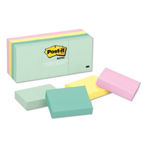 Post-it Notes Color Notes, 1-1/2 x 2, Pastel Colors, 12 Pads (MMM653AST)