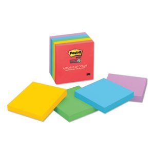 Post-it Super Sticky Notes, 3 x 3, Asstd Electric Glow, 5 Pads (MMM6545SSAN)