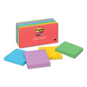 Post-it Super Sticky Notes, 3 x 3, Five Electric Colors, 12 Pads (MMM65412SSAN)