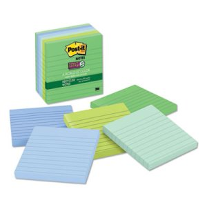 Post-it Super Sticky Lined Notes, Tropic Breeze Colors, 6 Pads (MMM6756SST)