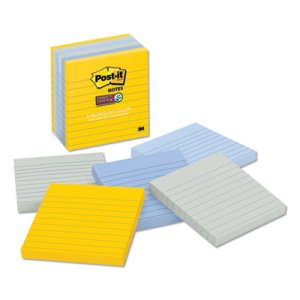 Post-it Notes Super Sticky Pads in NY Colors Notes, 4 x 4, 6 Pads (MMM6756SSNY)