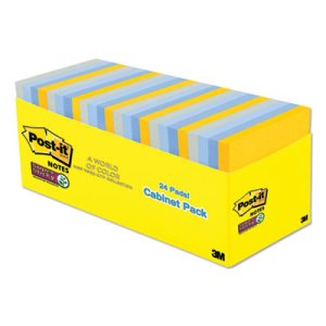 Post-it Notes Super Sticky Pads New York Colors Notes, 24 Pads (MMM65424SSNYCP)