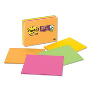 Post-it Super Sticky Large Format Notes, 8 x 6, Four Colors, 4 Pads (MMM6845SSP)