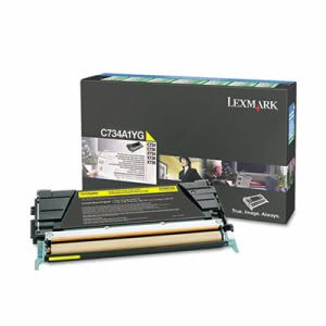 Lexmark C734A1YG Toner, Return Program, 6000 Page-Yield, Yellow (LEXC734A1YG)