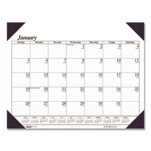Doolittle Monthly Desk Pad Calendar, 18-1/2 x 13, Black & White, 2020 (HOD0124)