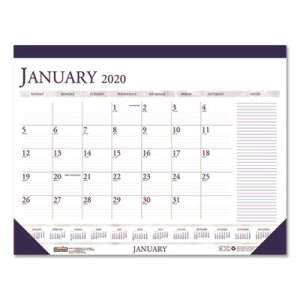 Doolittle Monthly Desk Pad Calendar, 22 x 17, Blue/Gray, 2020 (HOD164)