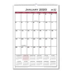 Blue Sky Classic Red Wall Calendar, 12 x 17, 2020 (BLS117373)