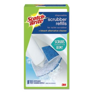 Scotch-brite Disposable Toilet Scrubber Refill, Blue/White, 10/Pack (MMM558RF)