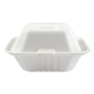 Boardwalk Bagasse Food Containers, Hinged-Lid, 500 Containers (BWKHINGEWF1CM6)