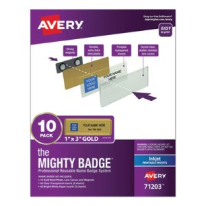 Avery The Mighty Badge, 1 x 3, Inkjet, Gold, 10 Holders/ 80 Inserts (AVE71203)