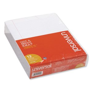 Universal Glue Top Writing Pads, Narrow Rule, Letter, White, 12 Pads (UNV41000)