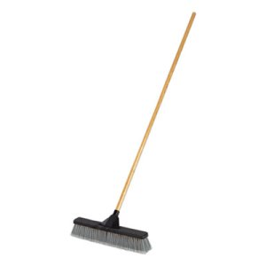 "Rubbermaid Commercial Push Brooms, 18"", PET Bristles, For Heavy Debris, Black/Gray (RCP2040055)"