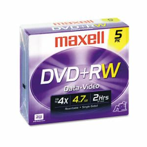 Maxell DVD+RW Discs, 4.7GB, 4x, w/Jewel Cases, Silver, 5/Pack (MAX634045)