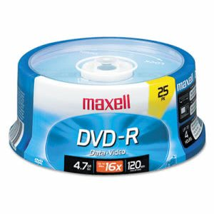 Maxell DVD-R Discs, 4.7GB, 16x, Spindle, Gold, 25/Pack (MAX638010)