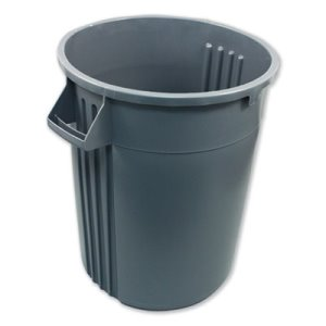 Impact Advanced Gator Waste Container, Round, Plastic, 32 gal, Gray (IMP7732GRE)