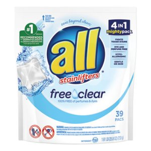 All Mighty Pacs Free and Clear Laundry Detergent, 39 Pods (DIA73978EA)