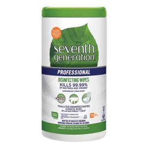 Seventh Generation Pro Disinfecting Wipes, 7x8, 70/Canister, 6 Cans (SEV44753CT)