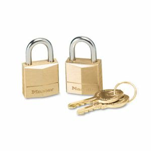 "Master Lock Three-Pin Brass Tumbler Locks, 3/4"" Wide, 2 Locks & 2 Keys (MLK120T)"