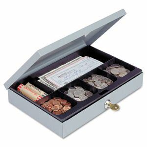 Steelmaster Steel Cash Box w/6 Compartments, Key Lock, Gray (MMF221618001)
