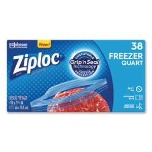 "Ziploc Double Zipper Freezer Bags, 2.7 mil, 7.7"", Quart, 342 Bags (SJN314444)"