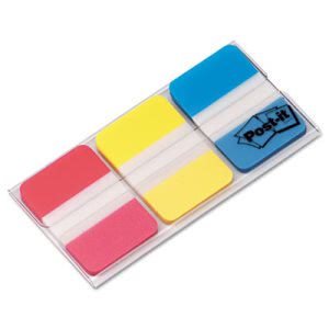 Post-it Durable File Tabs, 1 x 1 1/2, Assorted Colors, 66/Pack (MMM686RYB)