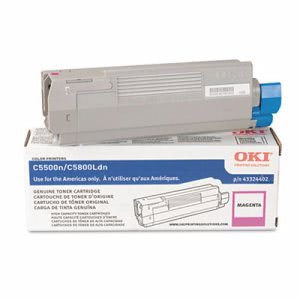 Oki 43324402 High-Yield Toner (Type C8), 5000 Page-Yield, Magenta (OKI43324402)