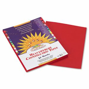 Sunworks Construction Paper, 58 lbs., 9 x 12, Red, 50 Sheets/Pack (PAC6103)