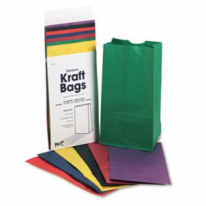 Pacon Rainbow Bags, 6# Uncoated Kraft Paper, 6 x 3-5/8 x 11, Assorted Bright, 28/Pack (PAC0072140)