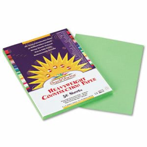 Sunworks Construction Paper, 58 lbs., 9 x 12, Green, 50 Sheets/Pack (PAC8103)