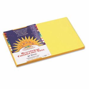 Sunworks Construction Paper, 58 lbs., 12 x 18, Yellow, 50 Sheets/Pack (PAC8407)