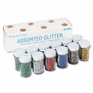 Pacon Spectra Glitter, Assorted, .75 oz Shaker-Top Jar, 12/Pack (PAC91356)