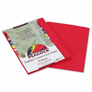Pacon Tru-Ray Construction Paper, 9 x 12, Scarlet, 50 Sheets (PAC103008)