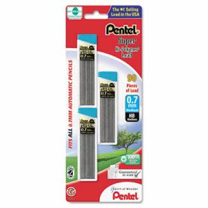 Pentel Super Hi-Polymer Lead Refills, 0.7mm, HB, Black, 90 Leads (PENC27BPHB3K6)