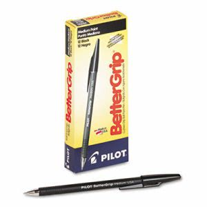 Pilot BetterGrip Ballpoint Stick Pen, Black Ink, Medium, Dozen (PIL30050)