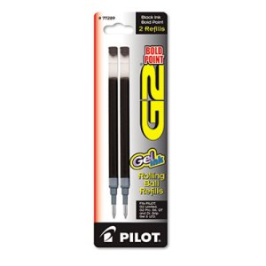 Pilot Refill for G2 Gel Ink Pen, Bold Print, Black, 2/Pack (PIL77289)