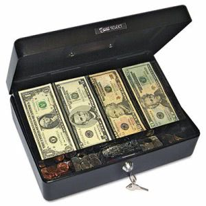 Securit Select Size Cash Box, 9-Compartment Tray, 2 Keys, Black (PMC04804)