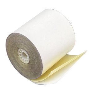 "Paper Rolls, Teller Window, 3"" x 90 ft, 2-Ply White/Canary, 50/Carton (PMC08963)"