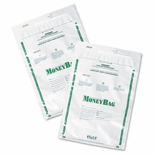 Securit Biodegradable Plastic Money Bags, 9 x 12, White, 50/Pack (PMC58020)