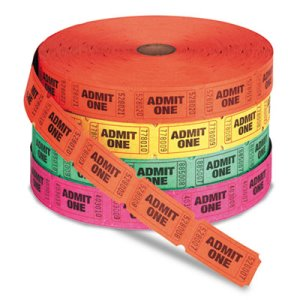 PM Company Admit One Single Ticket Roll, Numbered, 2000 Tickets (PMC59002)