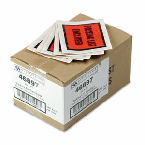 Self-Adhesive Packing List Envelope, Orange, 5 1/2 x 4 1/2, 1000/Box (QUA46897)